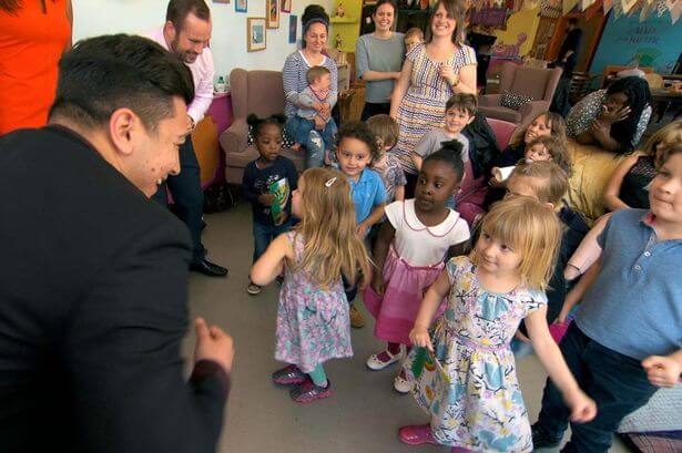 Mergim in a focus group at playgroup.