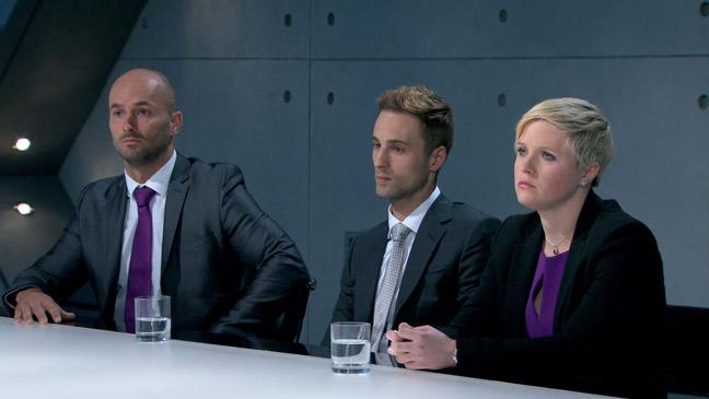Brett, Sam and Natalie face Lord Sugar.
