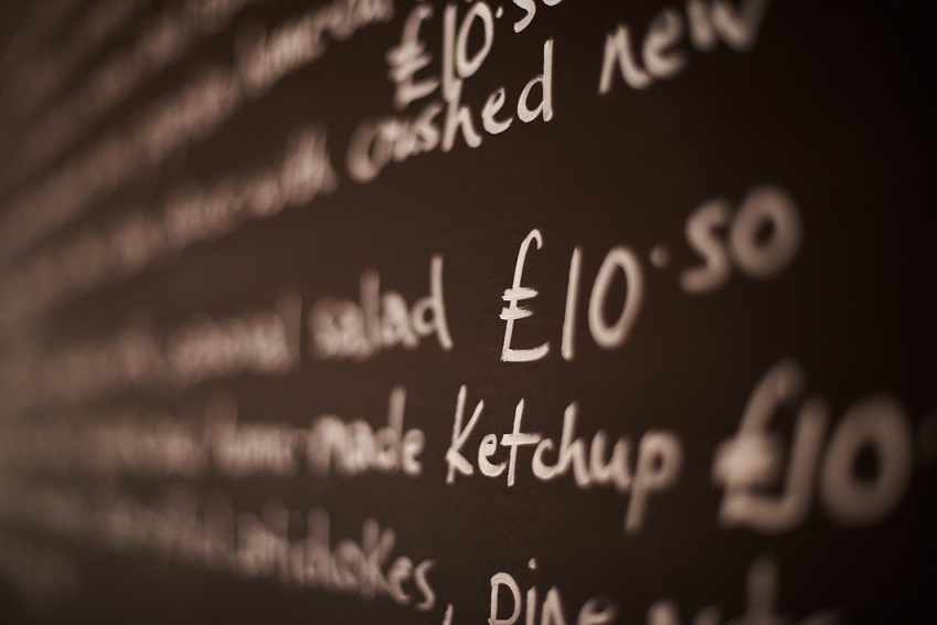 Close-up of British menu