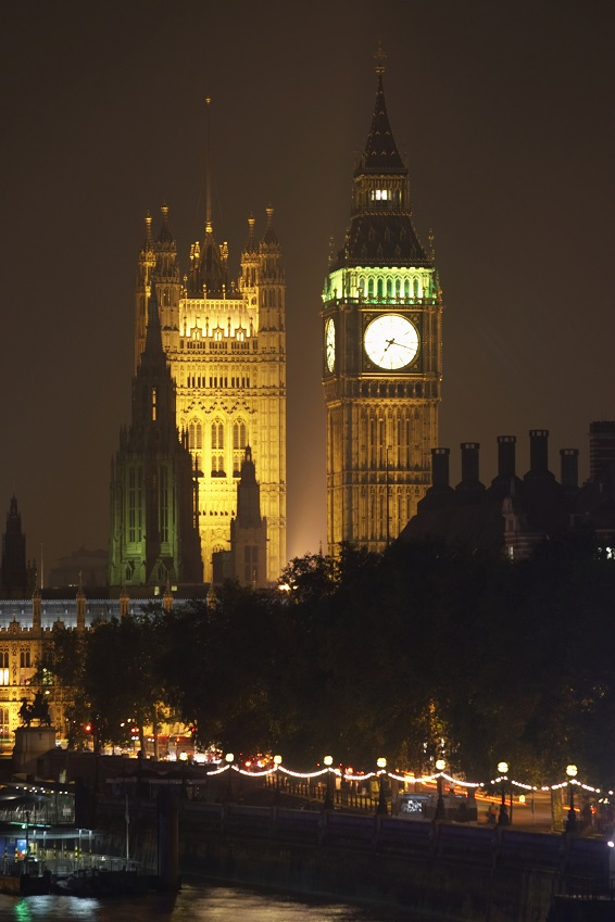 England, London, Houses of Parliament, night