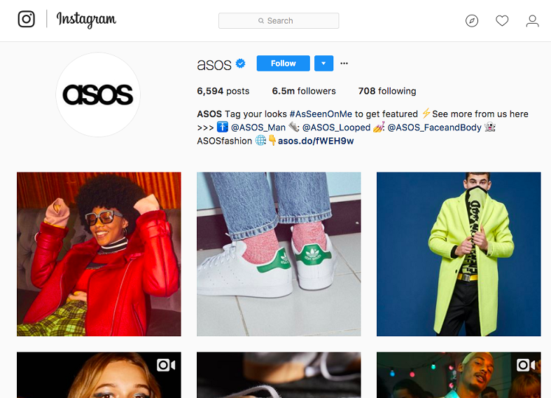 Instagram page of Asos
