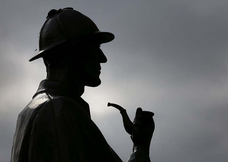 The Sherlock Holmes statue outside Baker Street tube station in London.