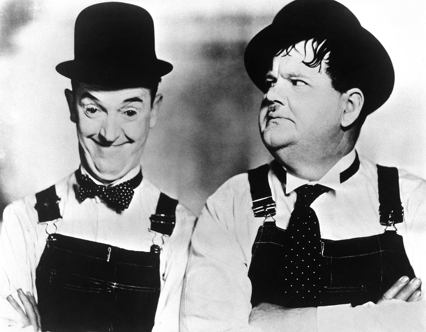 Comedy duo Stan Laurel and Oliver Hardy in the documentary film When Comedy Was King 1960.