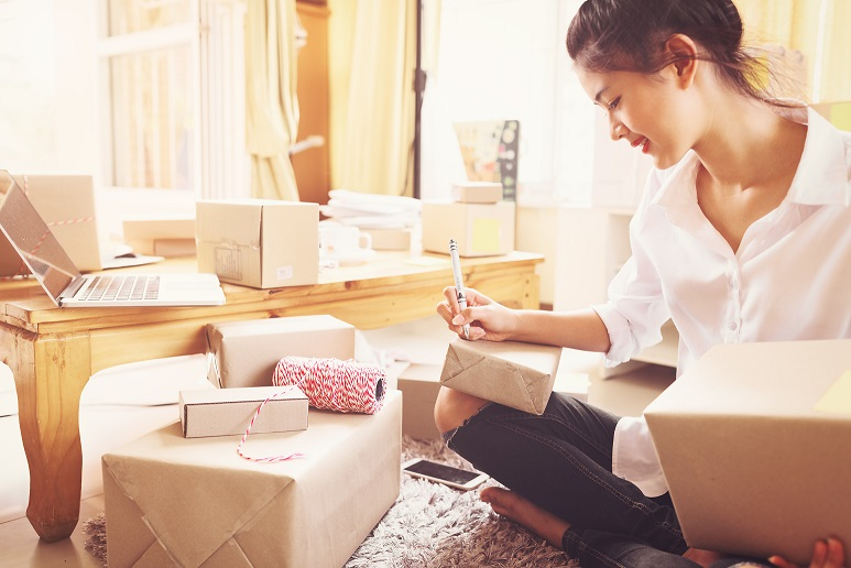 Young asian women entrepreneurs success doing business at home for shopping online,teenager owner business,success and online shopping concept.
