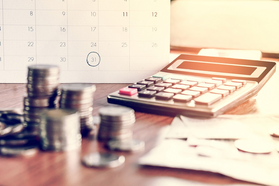 debt collection and tax season concept with deadline calendar
