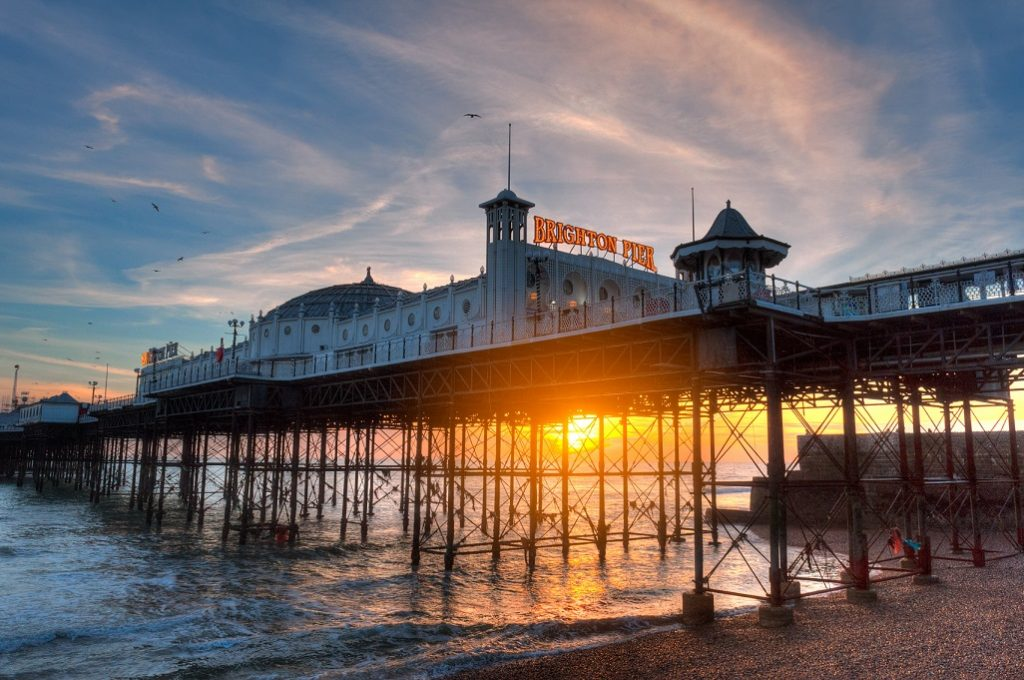 Brighton Pier at sunset in December