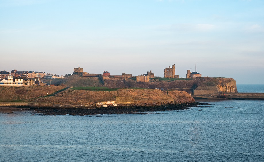 View on Newcastle shoreline, UK from a ferry boat entering the harbour