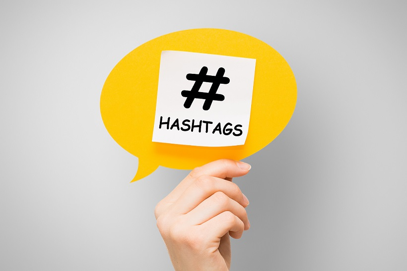 hashtag post viral web network media tag marketing trending speech bubble blogging blog website strategy concept - stock image