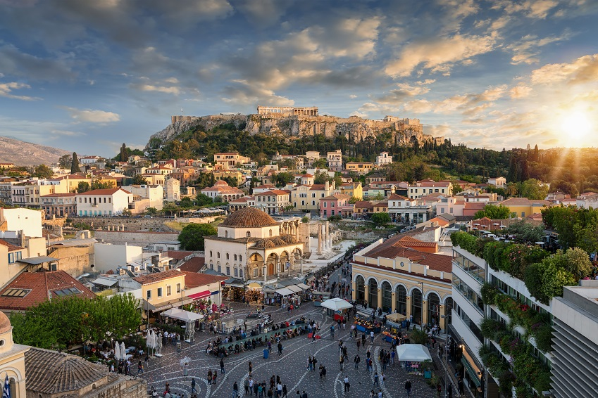 Sunset over the Plaka, the old town of Athens, Greece